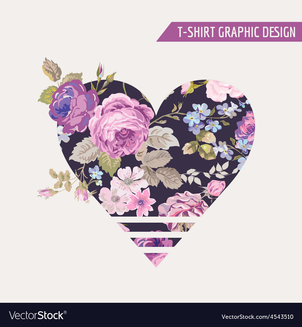 Floral heart graphic design - for t-shirt prints vector | Price: 1 Credit (USD $1)