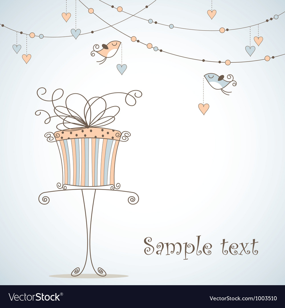 Greeting card with cute birds vector | Price: 1 Credit (USD $1)