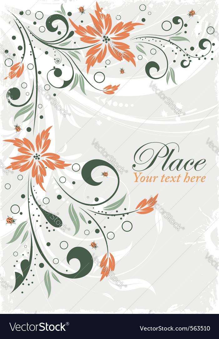 Grunge floral ladybug design vector | Price: 1 Credit (USD $1)