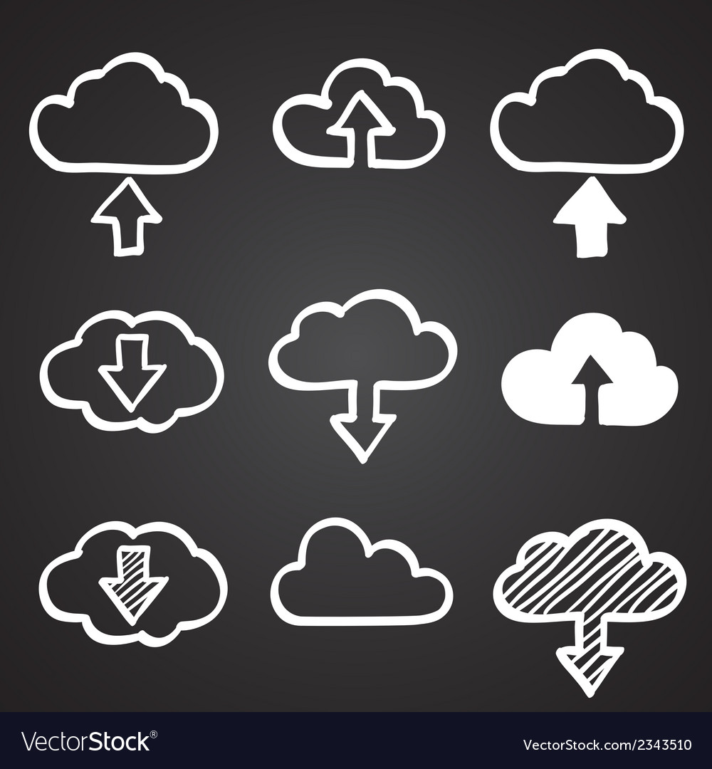Hand draw doodle cloud shapes collection icons for vector | Price: 1 Credit (USD $1)