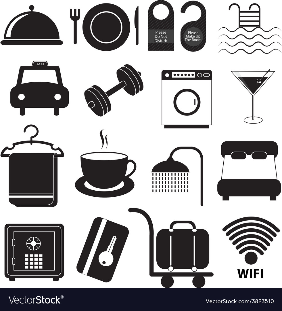 Hotel service icons set vector | Price: 1 Credit (USD $1)