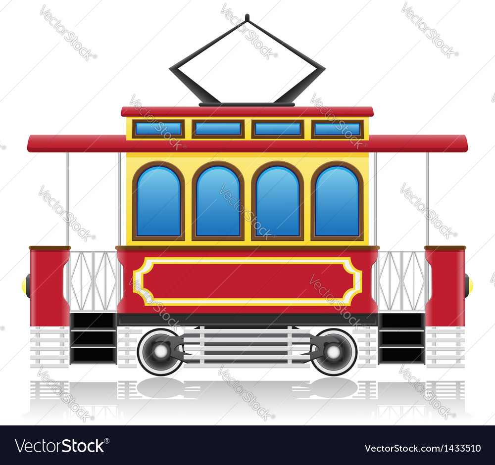 Old retro tram vector | Price: 1 Credit (USD $1)