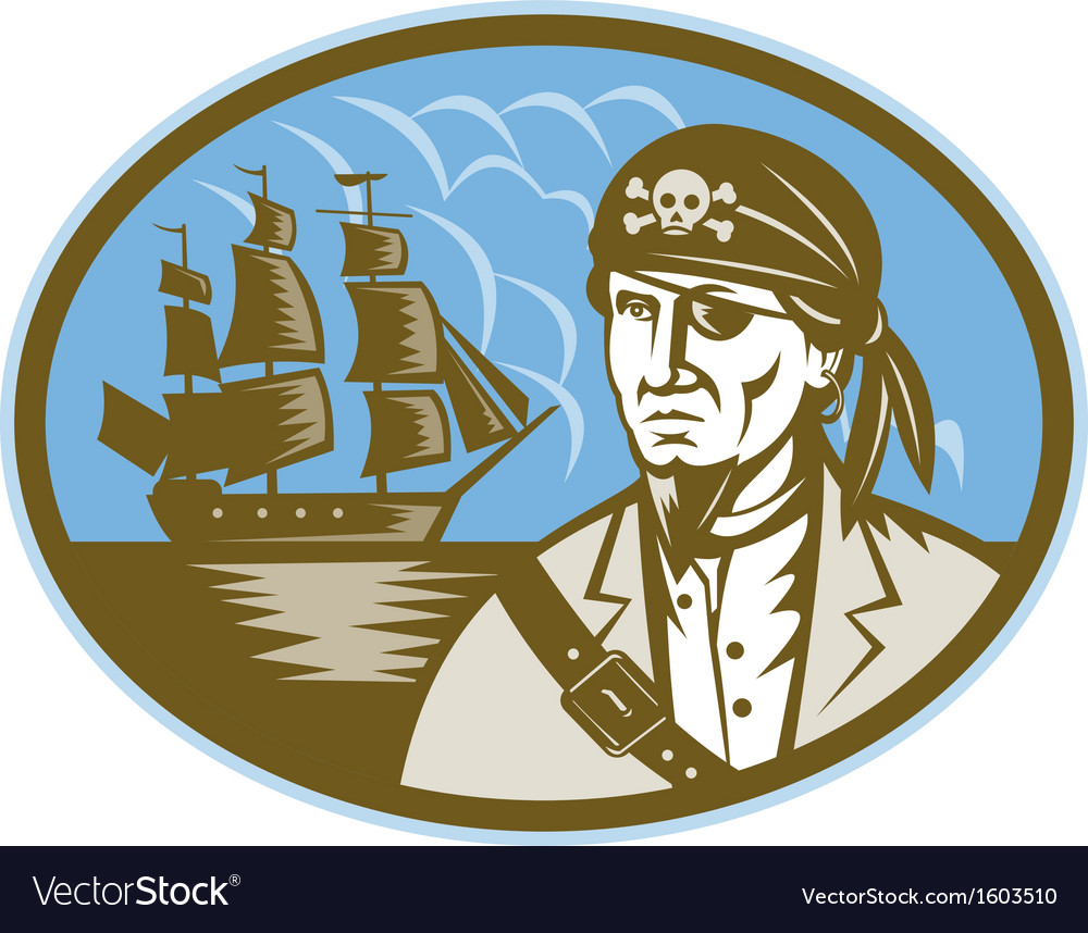 Pirate with sailing tall ship vector | Price: 1 Credit (USD $1)