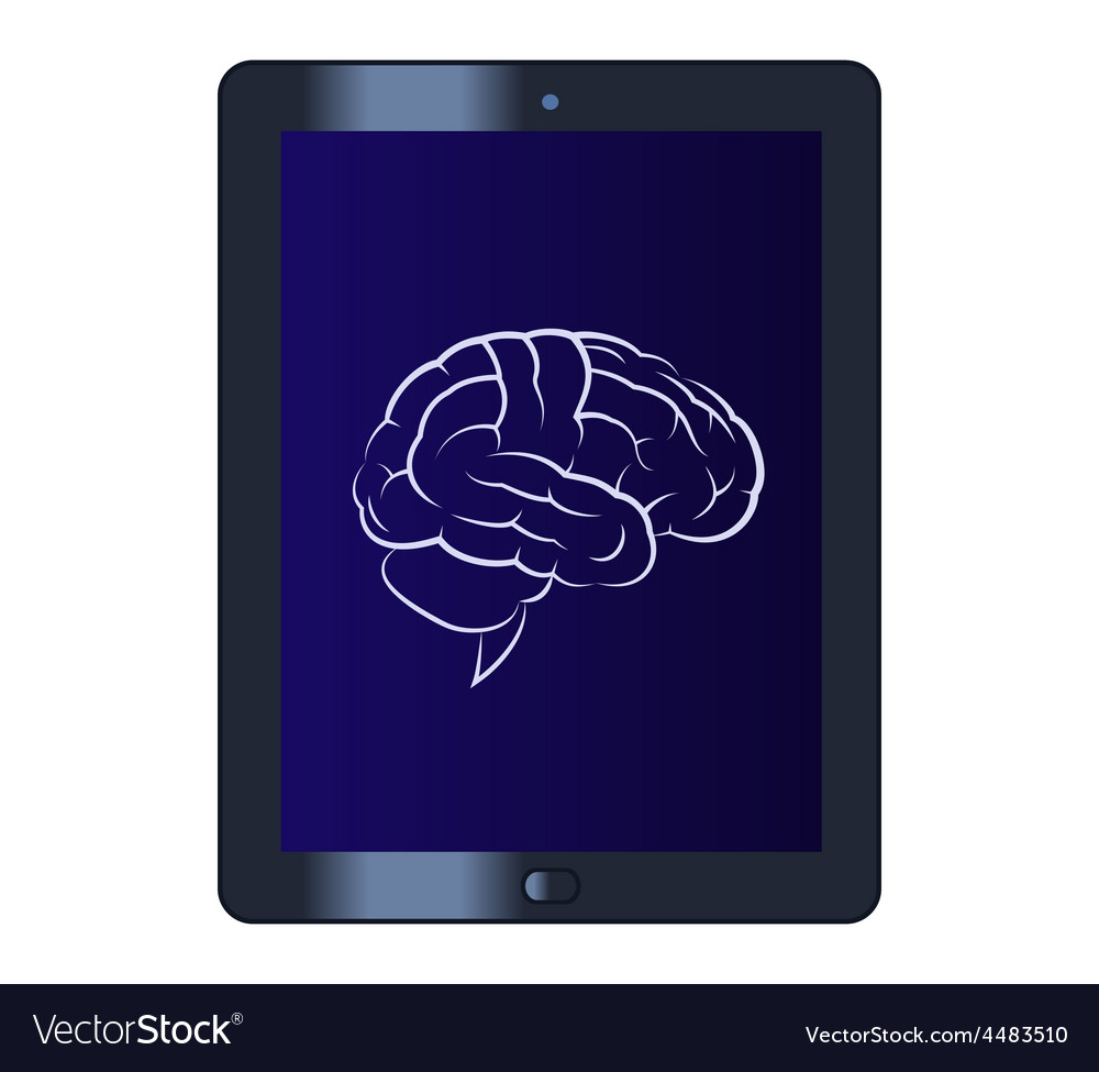 Symbol of the brain on the tablet computer vector | Price: 1 Credit (USD $1)