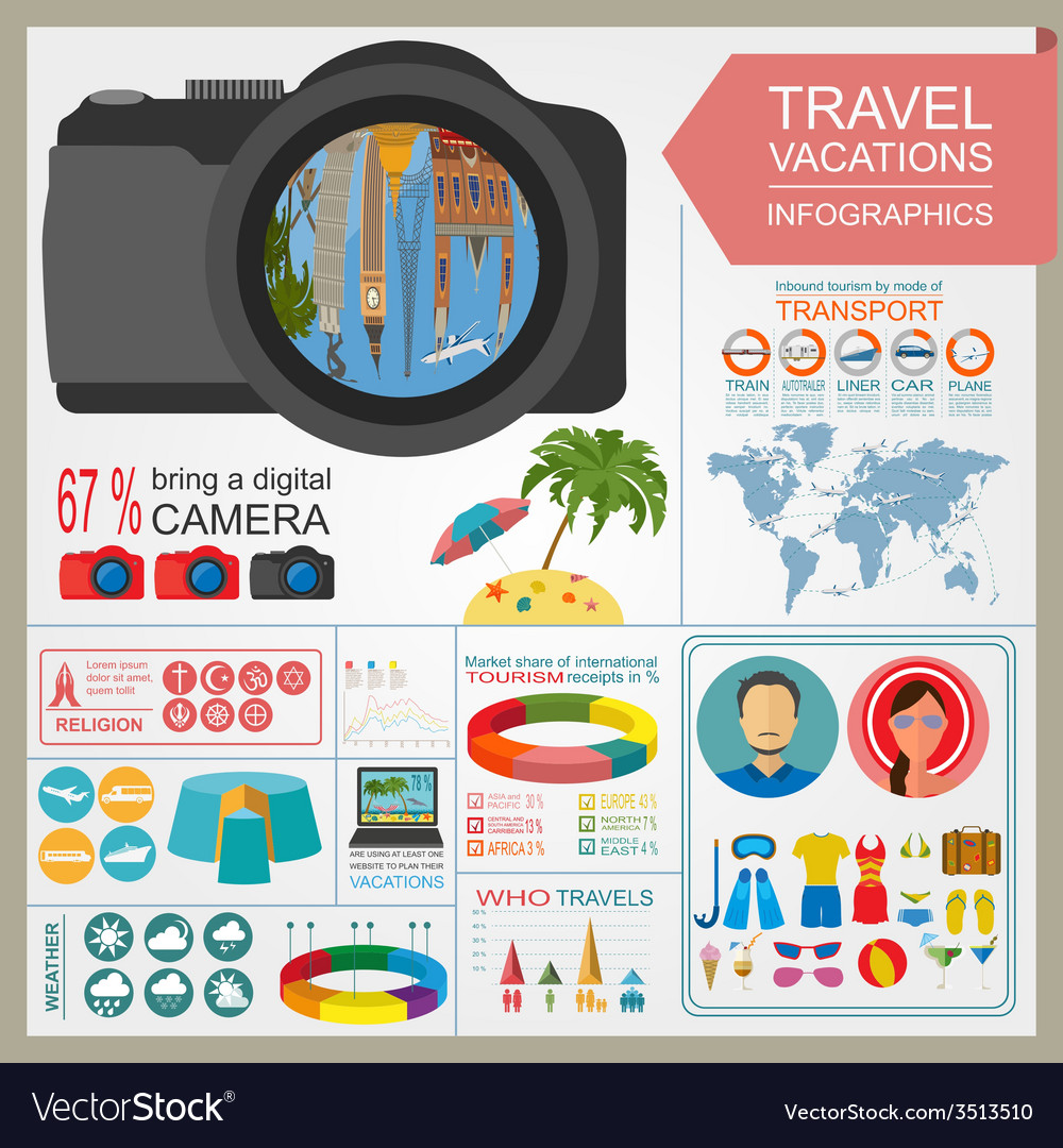 Travel vacations beach resort infographics vector | Price: 1 Credit (USD $1)