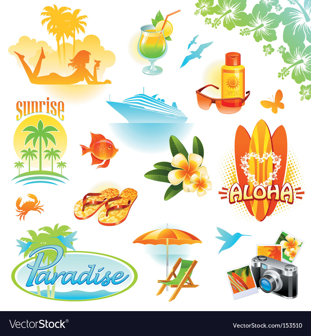 Tropical resort travel vector | Price: 5 Credit (USD $5)