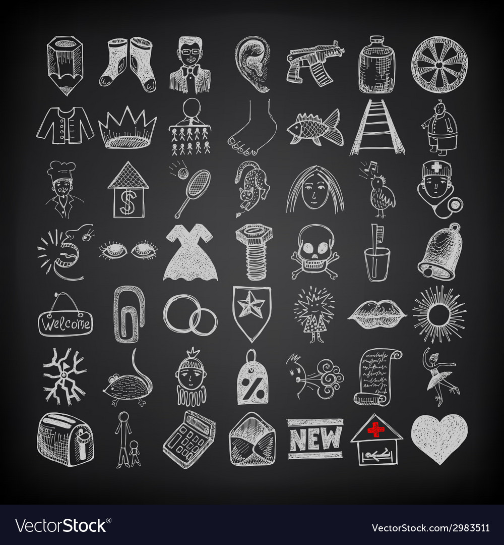 49 hand drawing doodle icon set on black vector   Price: 1 Credit (USD $1)