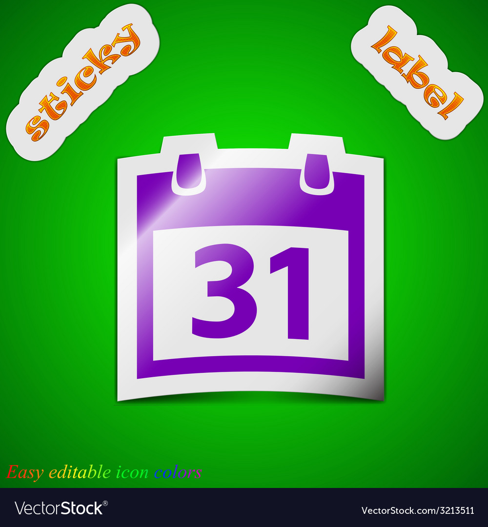 Calendar icon sign symbol chic colored sticky vector | Price: 1 Credit (USD $1)