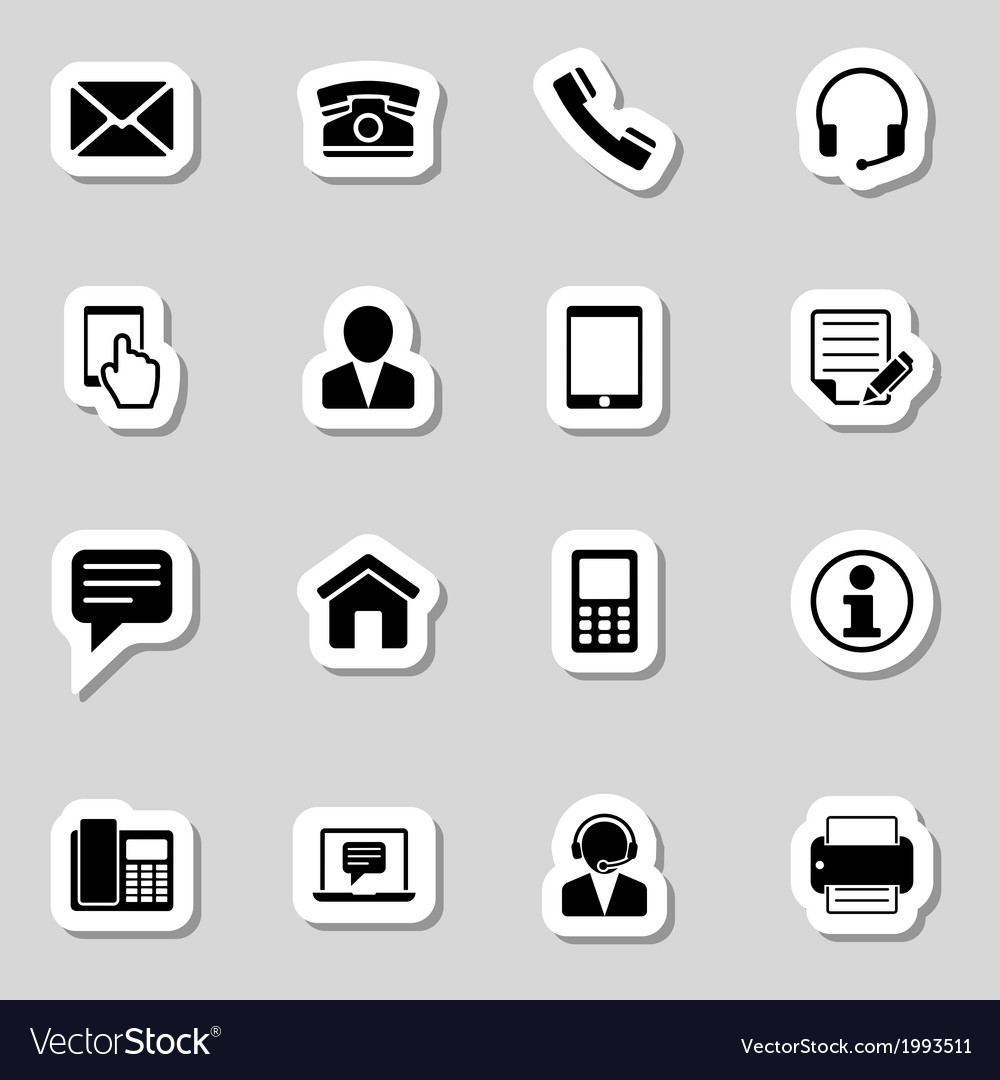 Contact icons set as labes vector | Price: 1 Credit (USD $1)