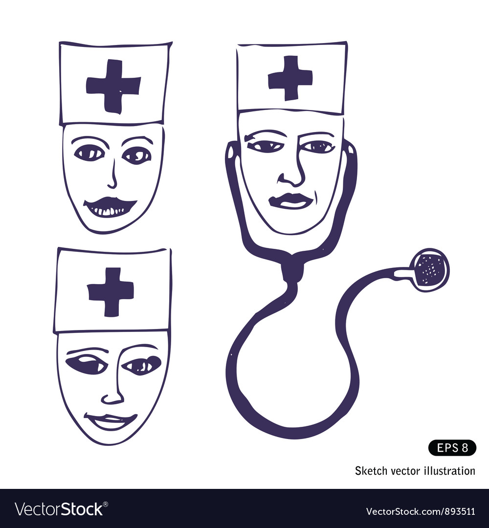 Doctors three icon faces vector | Price: 1 Credit (USD $1)