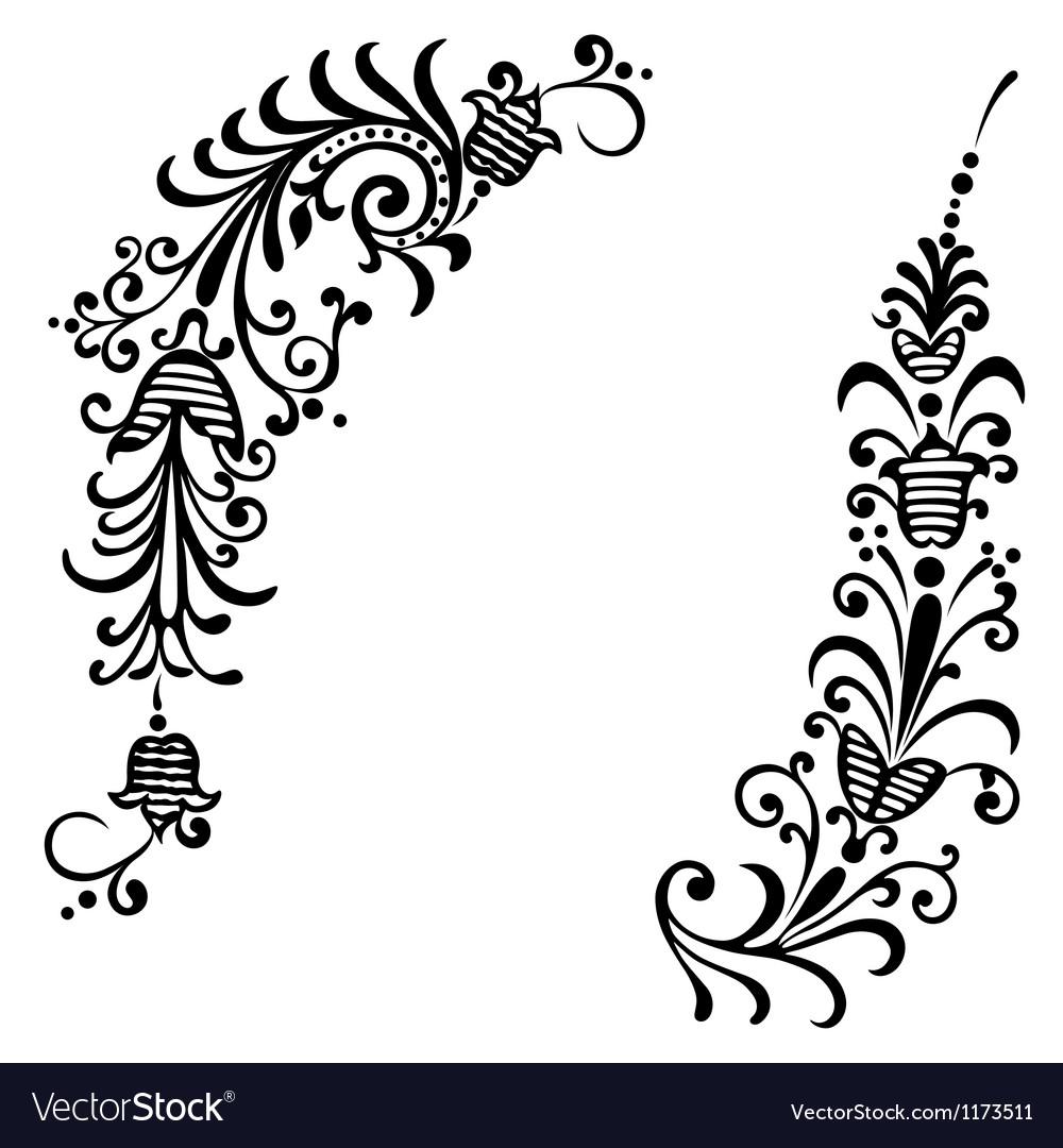 Floral ornament black vector   Price: 1 Credit (USD $1)