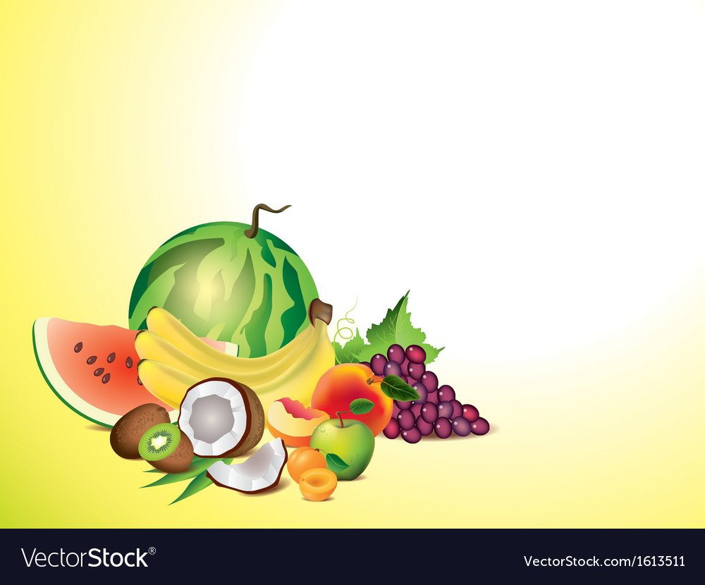 Fruits horizontal background vector | Price: 1 Credit (USD $1)