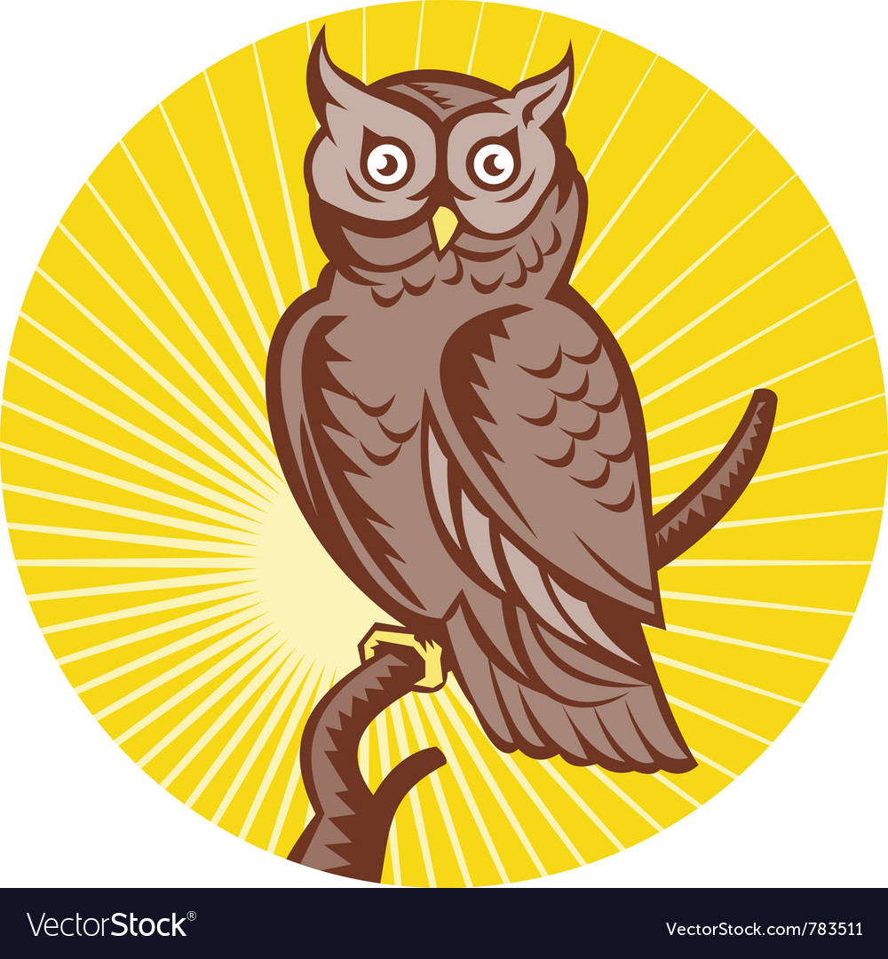 Great horned owl bird woodcut vector | Price: 1 Credit (USD $1)