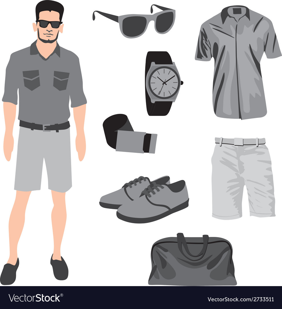 Hipster character pack for geek boy with accessory vector | Price: 1 Credit (USD $1)