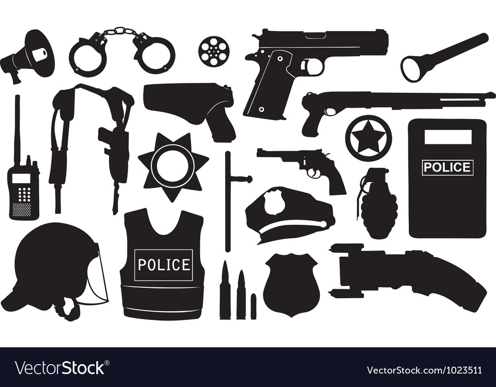 Police equipment set vector | Price: 1 Credit (USD $1)