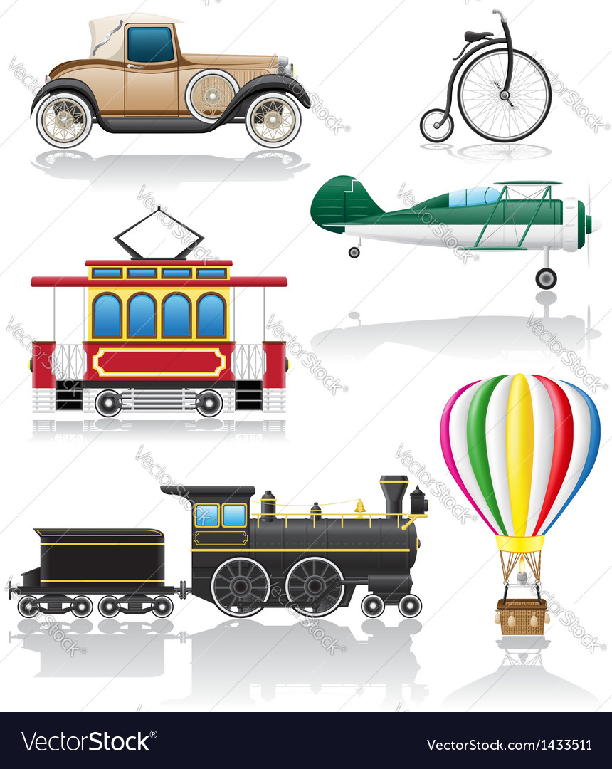 Set icons old retro transport vector | Price: 3 Credit (USD $3)