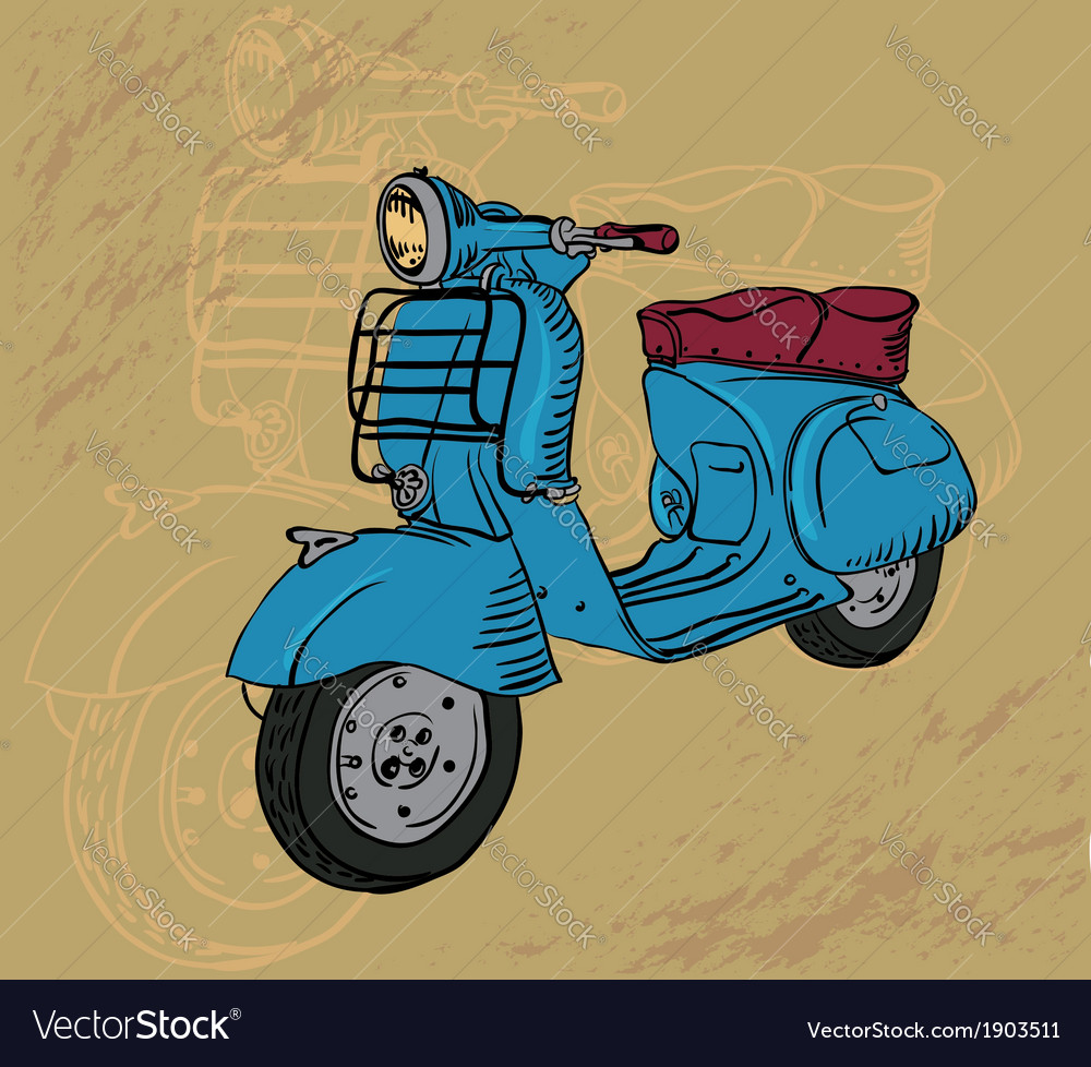 Sketch of scooter vector | Price: 1 Credit (USD $1)