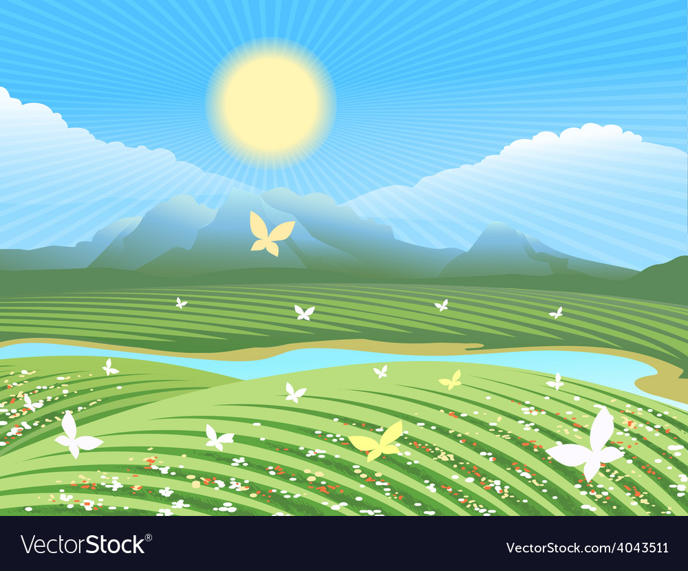 Spring farm landscape vector | Price: 5 Credit (USD $5)