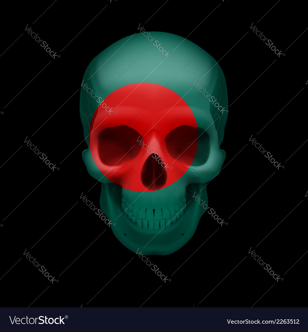 Bangladeshi flag skull vector | Price: 1 Credit (USD $1)