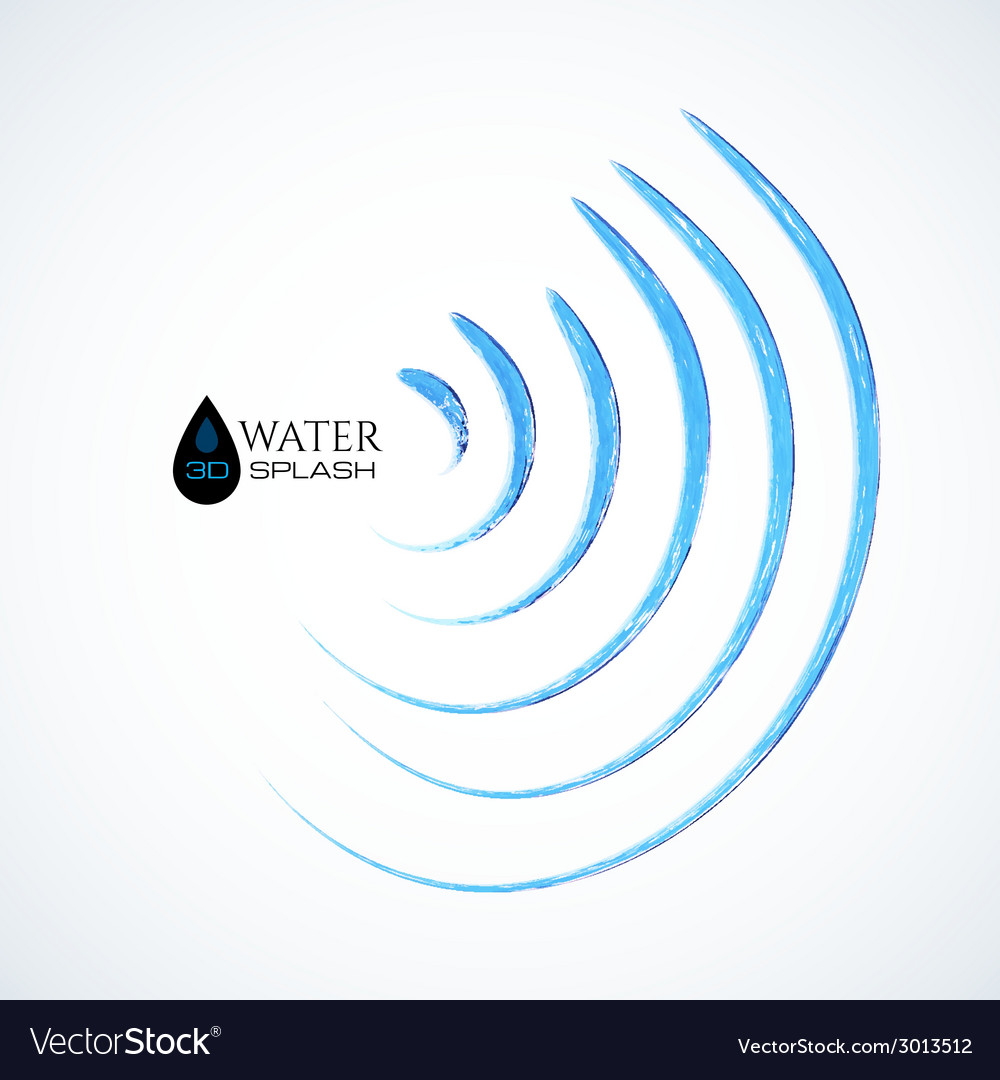Blue 3d water splash isolated on white vector | Price: 1 Credit (USD $1)