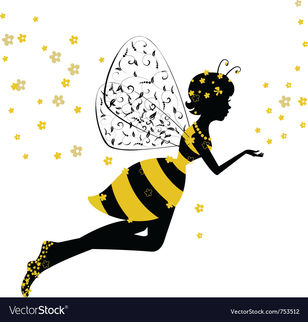 Little bee fairy girl vector | Price: 1 Credit (USD $1)
