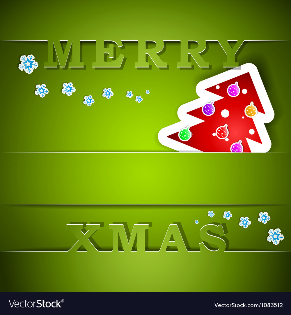 Merry xmas green card with tree vector | Price: 1 Credit (USD $1)