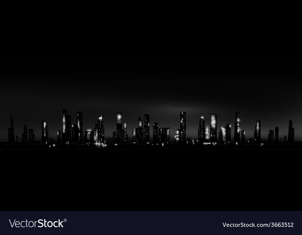 Night city skyline vector | Price: 1 Credit (USD $1)