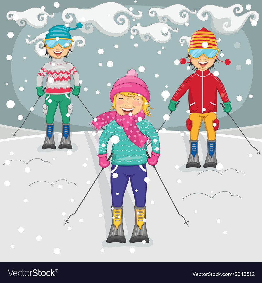 Of kids skiing vector | Price: 1 Credit (USD $1)