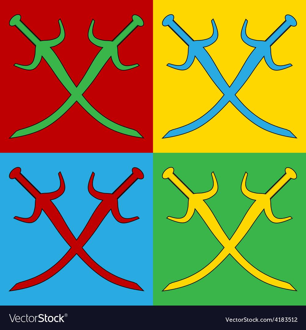 Pop art crossed swords icons vector | Price: 1 Credit (USD $1)