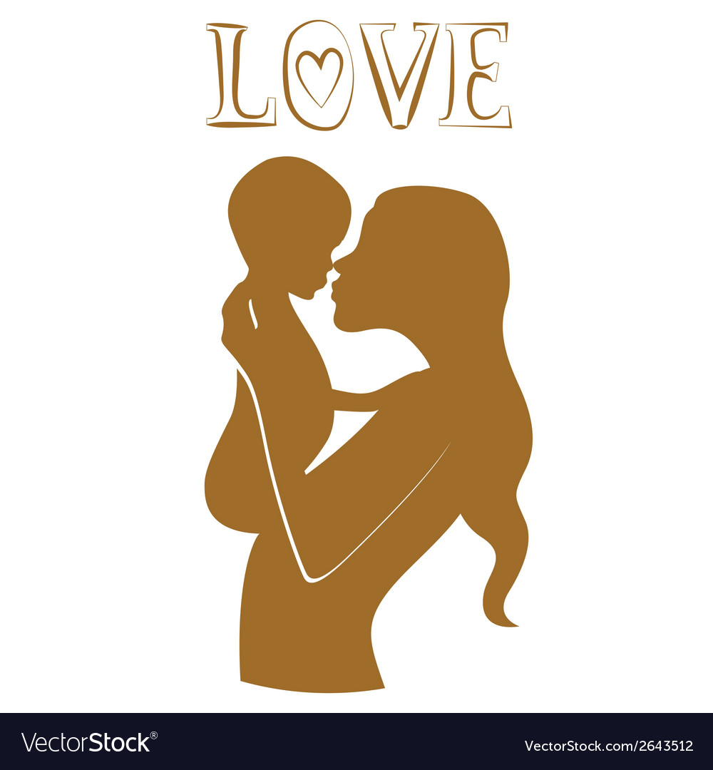 Pure love young mother with baby vector | Price: 1 Credit (USD $1)