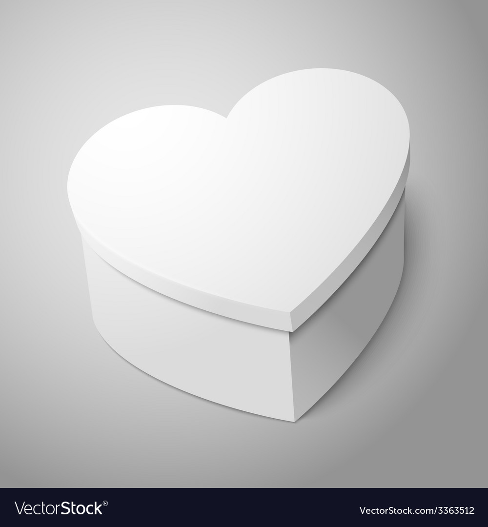 Realistic blank big white heart shape box isolated vector | Price: 3 Credit (USD $3)