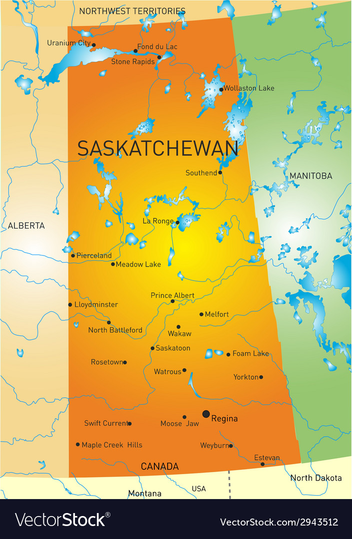 Saskatchewan province map vector | Price: 1 Credit (USD $1)