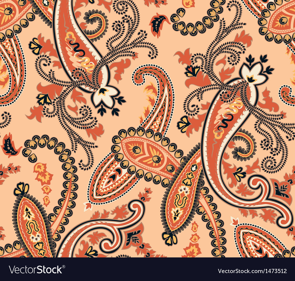 Seamless paisley background beige colors vector | Price: 1 Credit (USD $1)