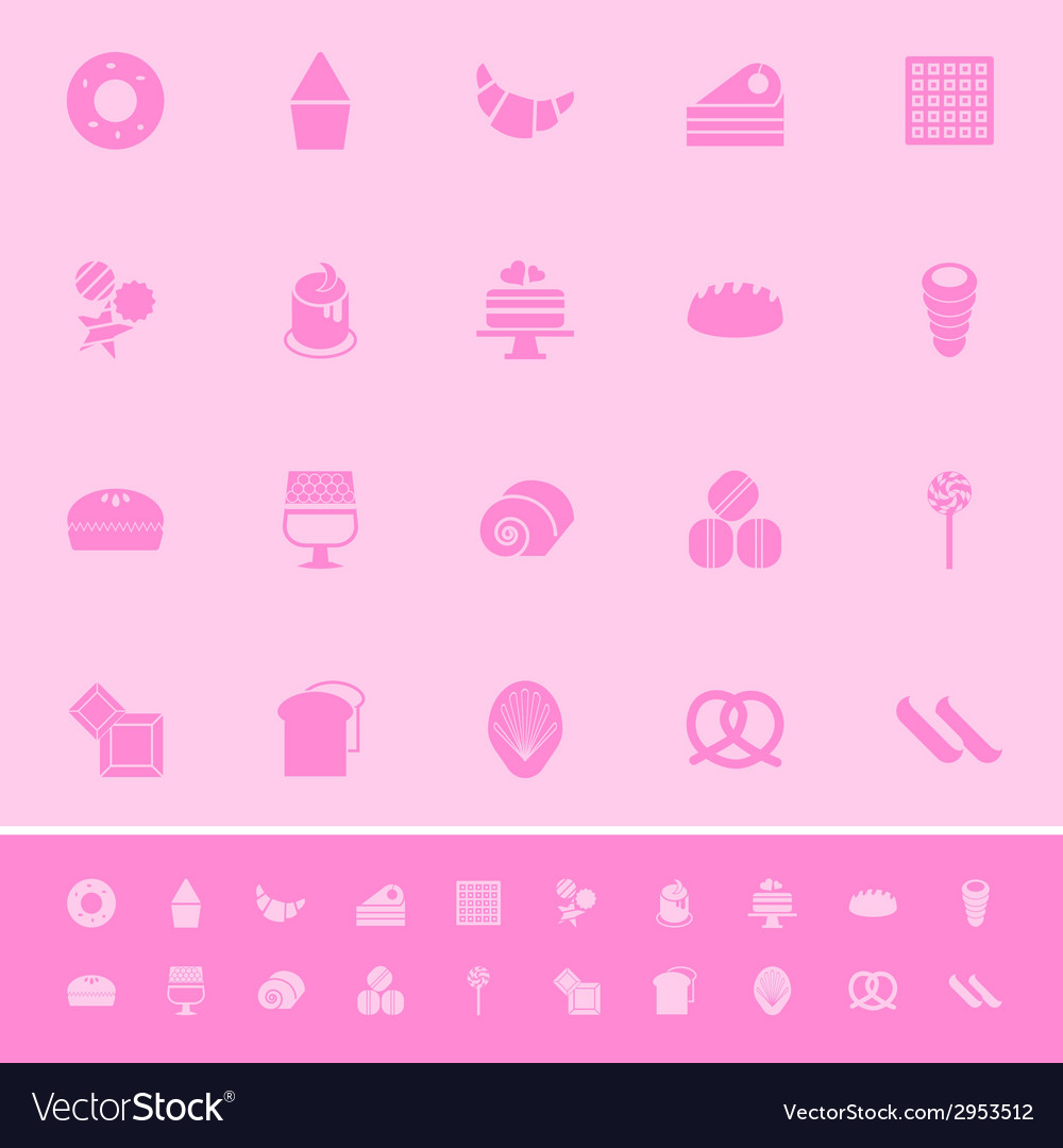 Variety bakery color icons on pink background vector | Price: 1 Credit (USD $1)
