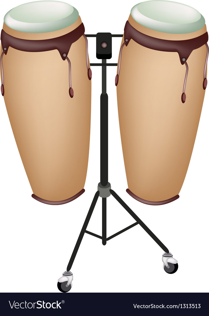 Beautiful musical instrument of congas on stand vector | Price: 1 Credit (USD $1)
