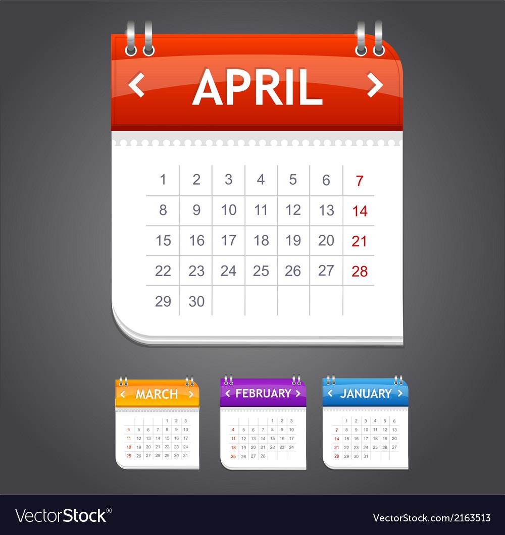 Calendar april vector | Price: 1 Credit (USD $1)