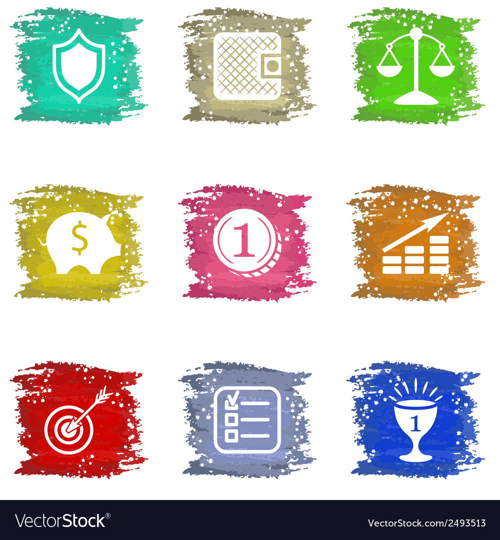 Colorful grungy icons set vector | Price: 1 Credit (USD $1)