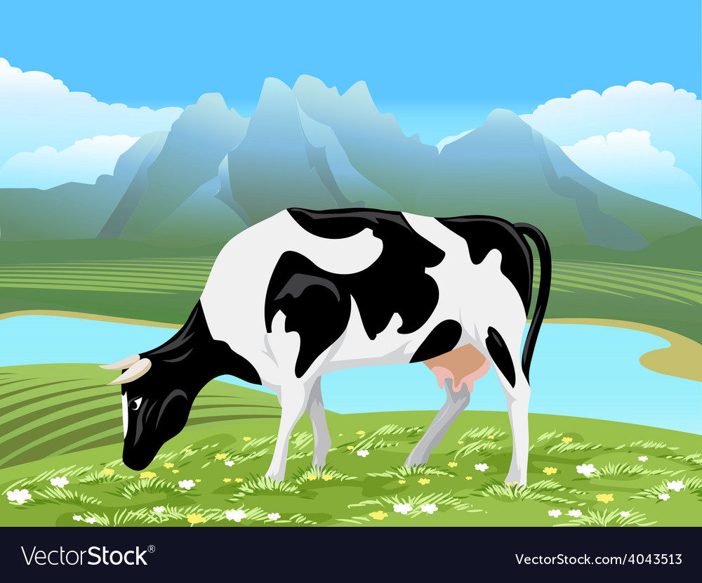 Cow and rural meadow landscape vector | Price: 5 Credit (USD $5)