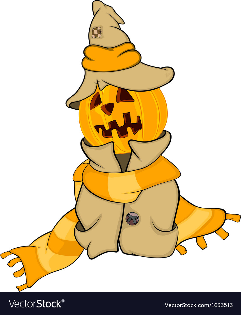Ghost and a pumpkin cartoon vector | Price: 1 Credit (USD $1)