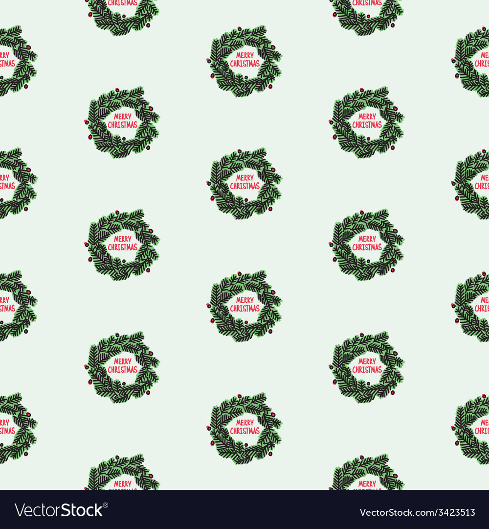 Hand drawn christmas seamless pattern with wreath vector | Price: 1 Credit (USD $1)