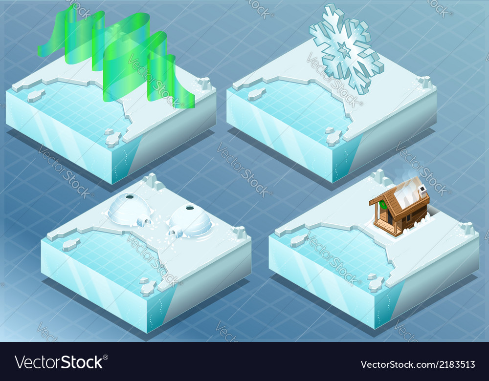 Isometric arctic igloo aurora sauna snow flake vector | Price: 1 Credit (USD $1)