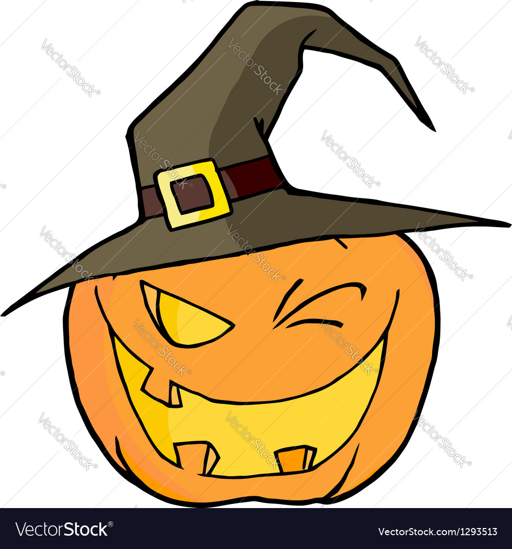 Jack o lantern wearing a witch hat winking vector | Price: 1 Credit (USD $1)