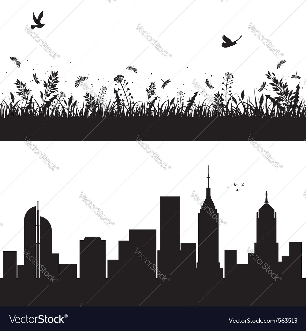 Landscape and city silhouettes vector | Price: 1 Credit (USD $1)