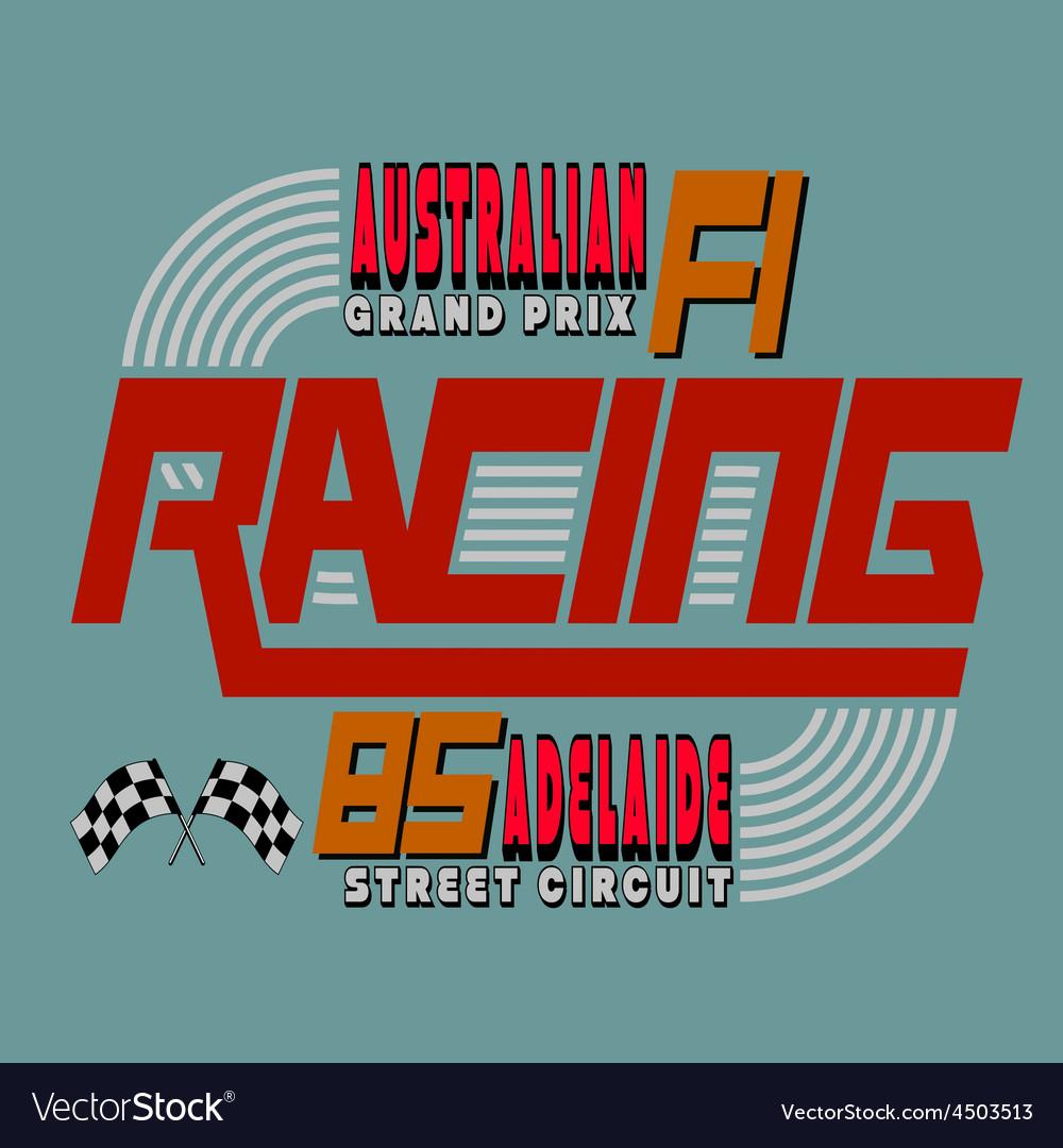 Racing car typography t-shirt graphics design vector | Price: 1 Credit (USD $1)