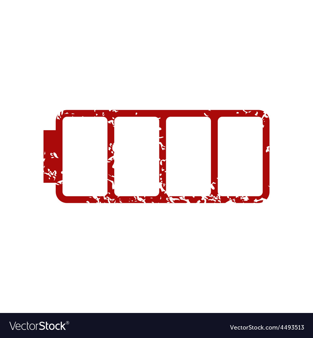 Red grunge empty battery logo vector | Price: 1 Credit (USD $1)