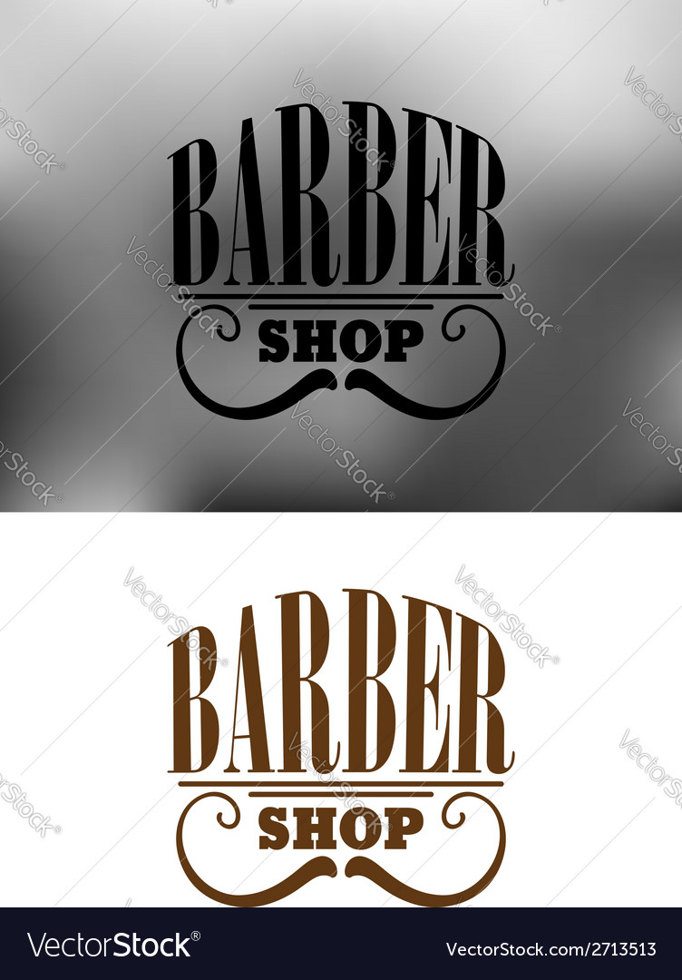 Retro barber shop emblem with mustache vector | Price: 1 Credit (USD $1)