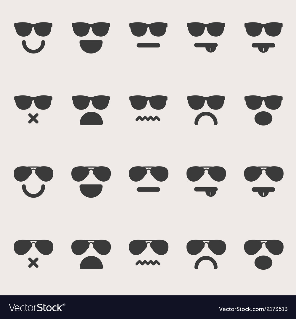 Set of different emoticons vector | Price: 1 Credit (USD $1)