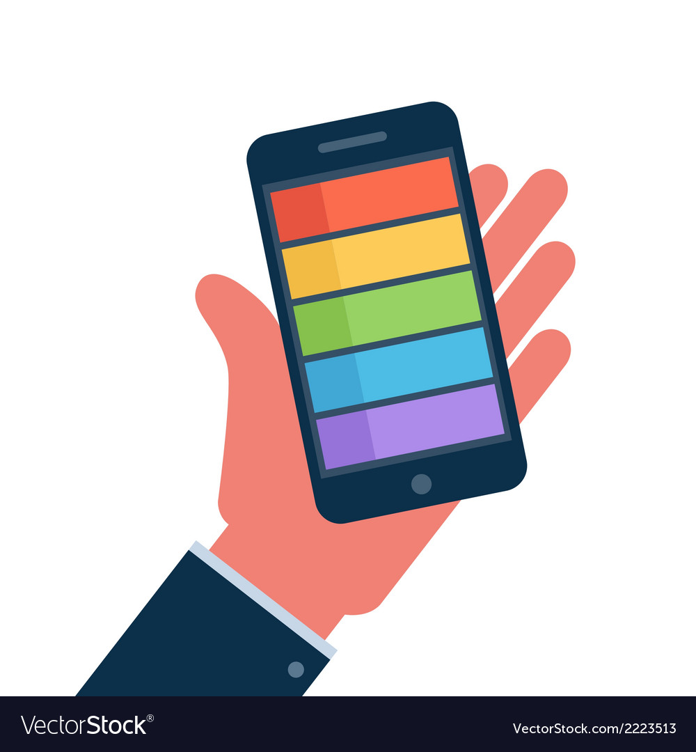 Smartphone on hand flat icon vector | Price: 1 Credit (USD $1)