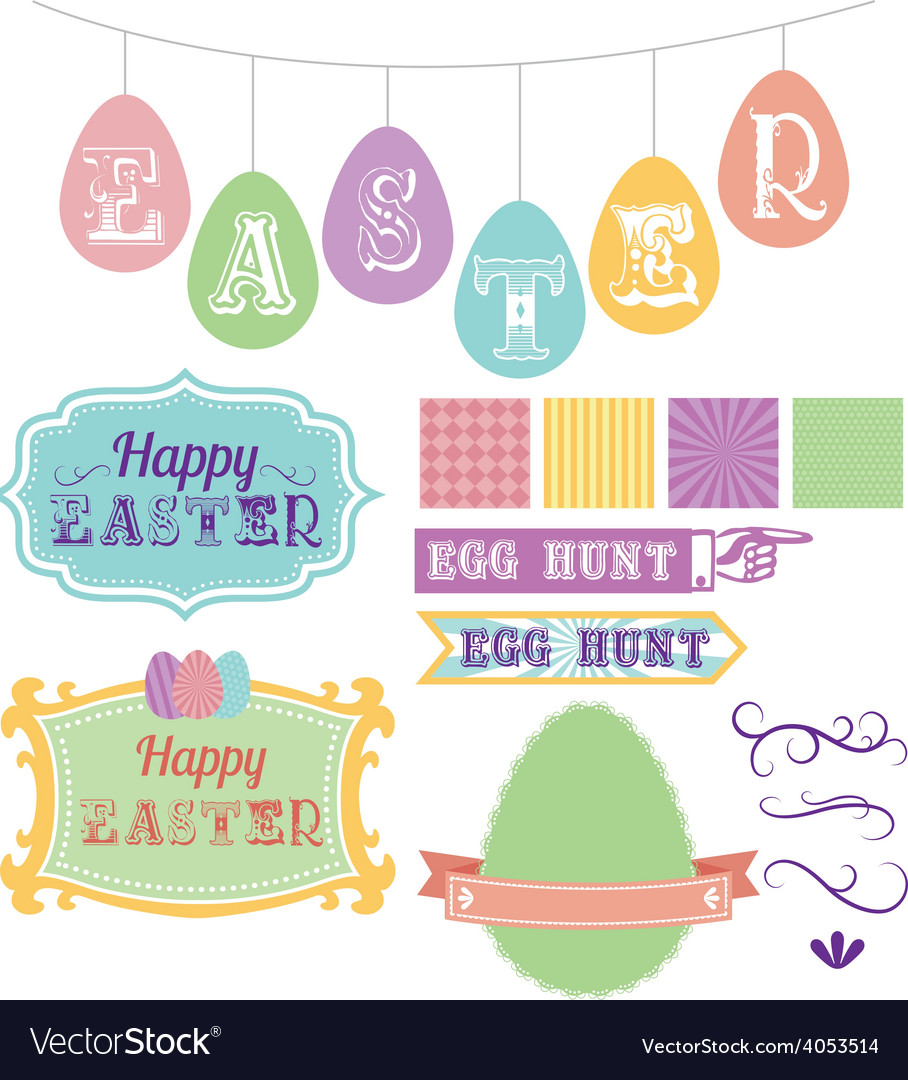 Easter elements carnival pack vector | Price: 1 Credit (USD $1)