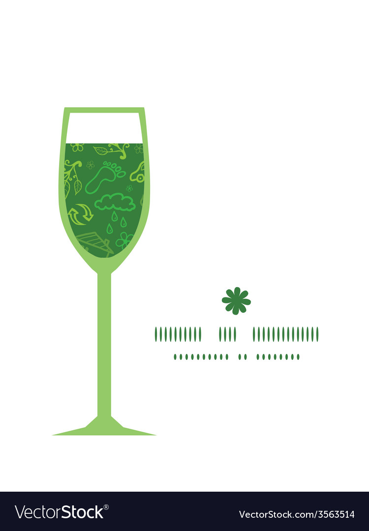 Ecology symbols wine glass silhouette pattern vector | Price: 1 Credit (USD $1)